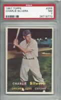 1957 Topps baseball card #255 Charlie Silvera, Chicago Cubs graded PSA 7