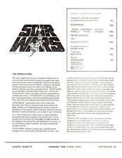 Star Wars 1977 Production Release Sheet From UK Press Kit