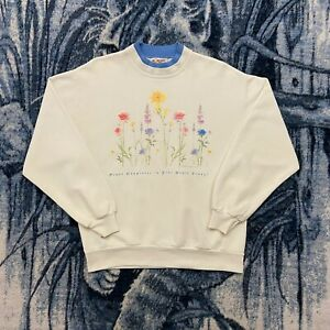 Vtg Double Collar Sweatshirt Flower Art Hallmark Morning Sun Womens Medium 90s