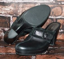 """COLE HAAN Black Leather & Suede Wedge Buckle Clogs Mules Womens 9 B """"BECCA"""" S29"""