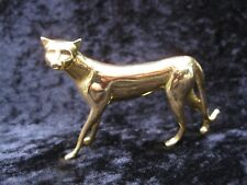 Franklin Mint Art Deco Curio Cabinet Cat Figurine 1986 Gold Tone Metal