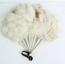 Vintage Antique Hand Held Fan Wood Sticks Feathers