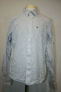 Abercrombie & Fitch A&F MUSCLE FIT Long Sleeve White Blue Striped Shirt Sz XL