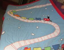 ALL ABOARD TRAIN TRACKS TWIN SIZE QUILT WITH MATCHING SHAM
