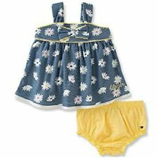 Tommy Hilfiger Baby Mädchen Sommer Outfit Blumen Blau Weiß Gelb Girls Set 56-62