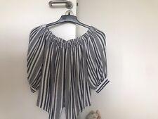 New Look Blue & White Tie Waist Off Shoulder Shirt Size 12