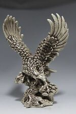 Collectible Decorated Old Handwork Tibet Silver Carve Eagle Dapeng wing Statue