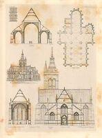 1858 Grande Architettura Stampa ~ Vilvorde Cathedral Medievale Gotico Art