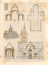 1858 LARGE ARCHITECTURE PRINT ~ VILVORDE CATHEDRAL MEDIEVAL GOTHIC ART MEDIAEVAL