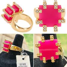 NWT~Trina Turk~Pink Cube Cocktail Ring with Pave Details-Gold Tone Band~Sz 7