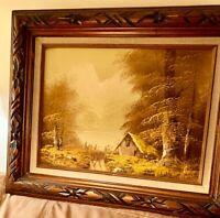 """Vintage Original Oil Painting Landscape Signed by Artist Framed 22"""" x 18"""""""