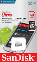 SanDisk 64GB Ultra Class 10 80MB/S 533X MicroSD Micro SDXC UHS-I TF Memory Card