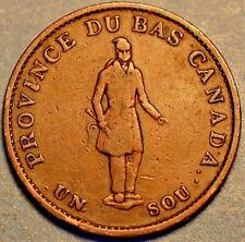 1837 Canada Province du Bas 1 Un Sol Half Penny Bank Token (A342)