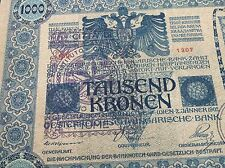 Austria 1000 KRONEN  1902 +2 x hanstamp - CITTA DI FIUME - Consiglio Nazionale !