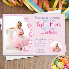 10 Personalised Girls 1st First Birthday Party Star PHOTO Invitations N29