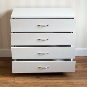 Wooden Chest Of Drawers 4 Drawer White Bedroom Furniture Metal Handles 72x75 cm