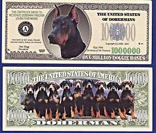 1- Doberman Pinscher Dog Dollar Bill W/ clear protector sleeve Fake- Money- H1
