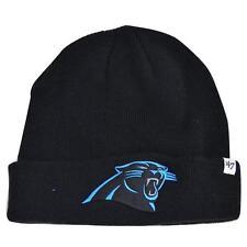 '47 Brand Carolina Panthers Black Raised Field Knit Cuffed Winter Beanie Hat