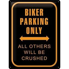 Plaque décoration Biker Parking Only moto motocycles custom Biker chopper 20381