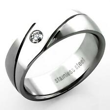 Silver Wedding Ring Engagement Eternity Mens Ladies Cubic Zirconia Crystal Stone