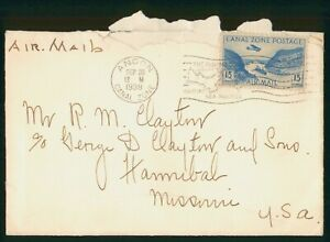 Mayfairstamps Canal Zone 1938 Ancon to Hannibal MO Airmail cover wwo1921