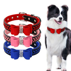 Braided Dog Leather Collar Small to Large Dog Bling Rhinestone Bowknot Necklace