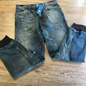 ADIDAS Original Men's Denim Jogger Ribbed Cuffed Jean Ergonomic Fit low crotch
