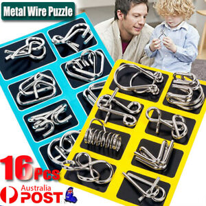 16pcs Classic IQ Metal Puzzle Brain Teaser Disentanglement Wire Puzzles Game Toy