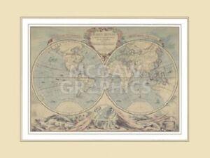 "BOURGOIN - WORLD MAP (18TH CENTURY) - ART PRINT POSTER 18"" x 24"" (581)"
