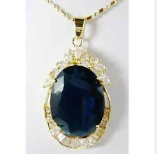 loveliness eclectic natural blue sapphire yellow gold pendant +chain