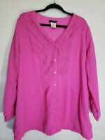 Women's Ulla Popken Plus Size 20/22 Relax Fit Button Up L/S Top Blouse Hot Pink