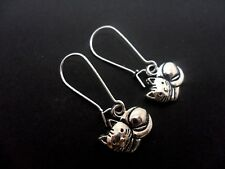 A PAIR OF CAT EARRINGS ON SILVER PLATED KIDNEY EAR WIRES. NEW.