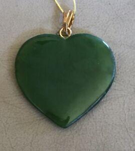 Vintage Gold Filled Bale Natural Green Jade Heart Pendant