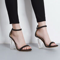 Women's Clear Transparent Shoes High Heels Ankle Strap Sandals Stilettos