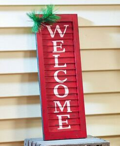 WELCOME Distressed Look Window Shutter Christmas Porch Yard Decor
