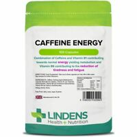 Lindens Caffeine Energy 200mg Capsules Stimulant with Vitamin B1 B5 and B6