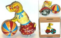 Walking Dog Rolling Ball Retro Clockwork Wind Up Tin Toy w/Box