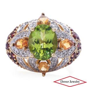 Estate Diamond Peridot Citrine Garnet 14K Gold Cluster Cocktail Ring 5.2 Gr NR