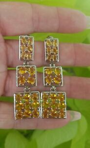 Natural Citrine Pyramid Box Dangle Earrings,  Rhodium/Silver