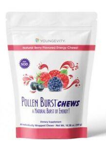 POLLEN BURST CHEWS, youngevity, natural berry flavored energy chews, 60 chews
