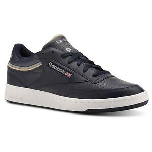 REEBOK MEN'S CLUB C 85 TRAINERS SHOES SNEAKERS NAVY BLUE RETRO VINTAGE NEW BNWT