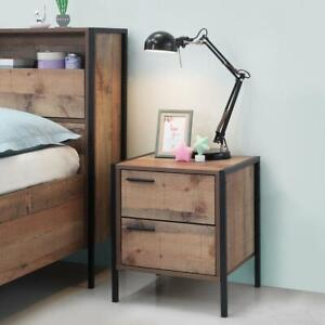 Stretton Urban Bedside Lamp Table with 2 Drawers Rustic Industrial Oak Effect