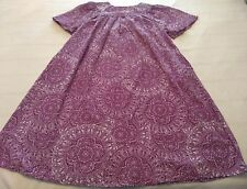 Vintage Style National Purple White Print Short Sleeved Semi Sheer Nightgown 1X