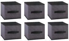 """Set of 6 Black and Gray Collapsible Storage Cube Bins 9""""x9""""x8"""" FREE SHIPPING"""