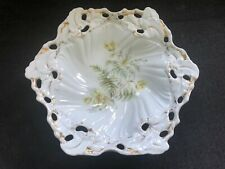 Gorgeous PORCELAIN Bowl FLOWERS Ornate Fancy RS PRUSSIA GERMANY