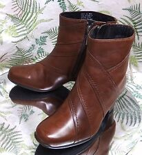CLARKS BROWN LEATHER ZIPPER DRESS ANKLE BOOTS FASHION HEELS SHOES US WOMENS 6 M