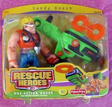 FISHER-PRICE RESCUE HEROES MAX-ACTION SQUAD SANDY BEACH & LAUNCHER - 2004 - NRFB