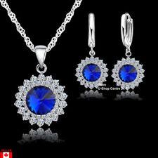 925 Pure Silver Crystal Necklace Jewelry Set Pendant/Earrings Trendy Women