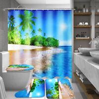 4Pcs Seashore 180CM Waterproof Shower Curtain Bathroom Toilet Bath Mat Pad Kit