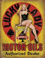 Lucky Lady Motor Oil Gas Service Garage Dealer Retro Pinup Girl Metal Tin Sign